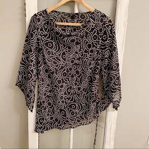 Mossimo asymmetrical blouse polka dot rouched hem